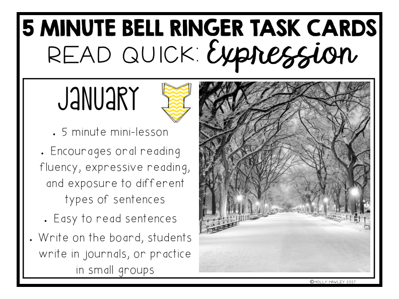 Read Quick Bell Ringer Task Cards-JANUARY