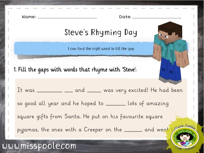 Minecraft Steve's Rhyming Day: '-eve'