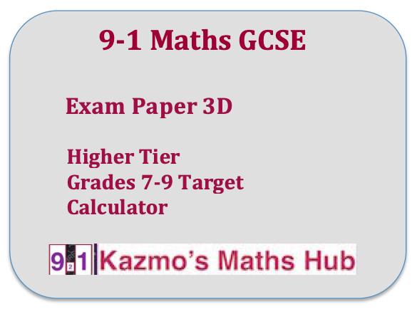 9-1 GCSE Maths Exam Paper 3D