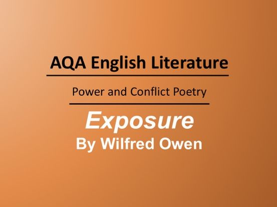 Exposure by Wilfred Owen Lesson