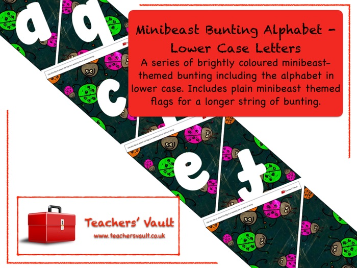 Minibeast Bunting Alphabet - Lower Case Letters