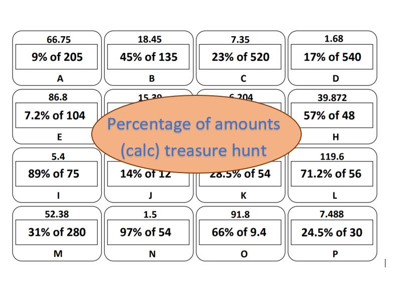 Percentage of amounts (calc) - treasure hunt