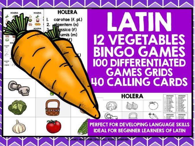 PRIMARY LATIN VEGETABLES BINGO