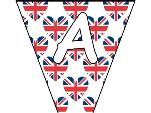 Printable bunting display bulletin letters numbers: Union Jack UK Royal Wedding
