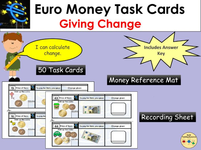 Euros and Cents Giving Change Task Cards