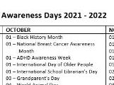 Awareness Days 2021-2022 PSHE Tutor Time Calendar Special Days