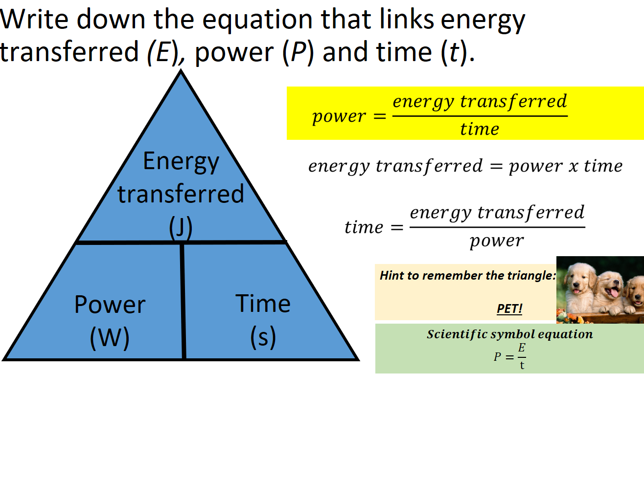 AQA Trilogy Physics Equations Paper 1&2 Triangles, Rearrangements, Memory Aids
