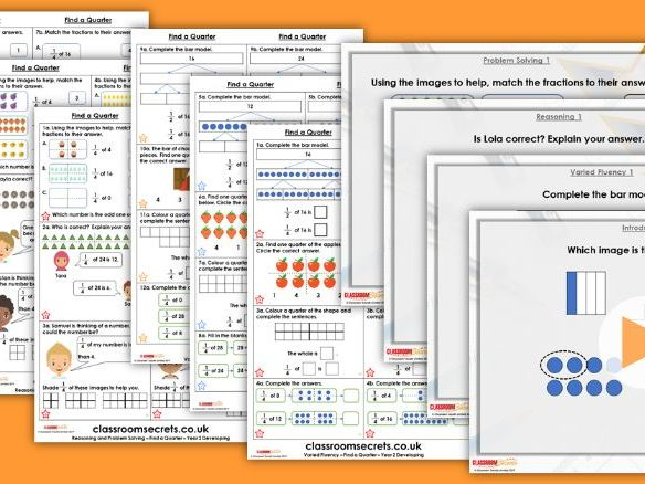 Year 2 Find a Quarter Spring Block 4 Step 5 Maths Lesson Pack