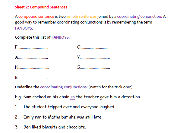 A Worksheet on Compound Sentences  (2)