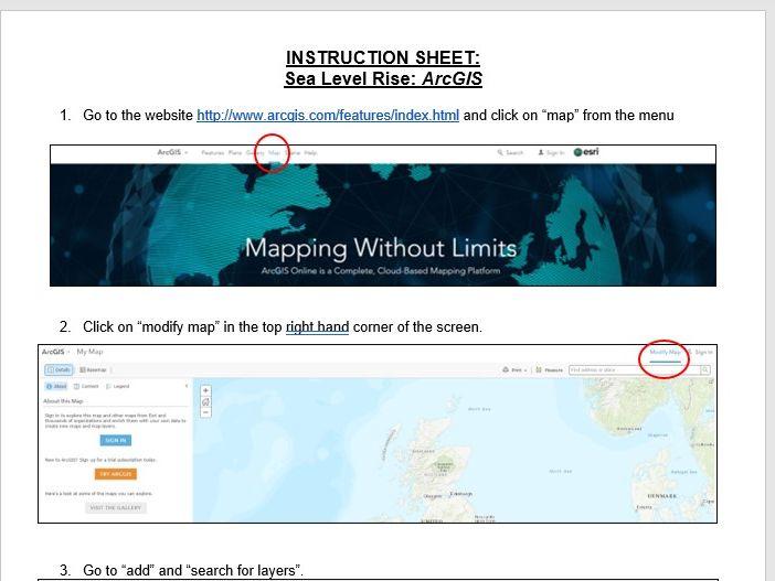 ArcGIS Instruction Sheet - Sea Level