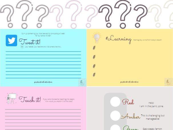 Assessment for Learning Plenary Cards