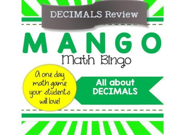 "Maths Bingo ""Mango"" Decimals Practice"