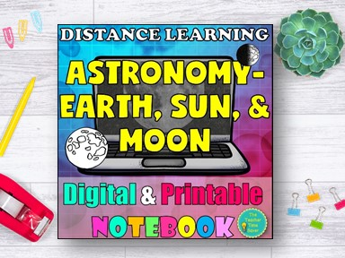 Earth Moon and Sun Space Notebook Distance Learning