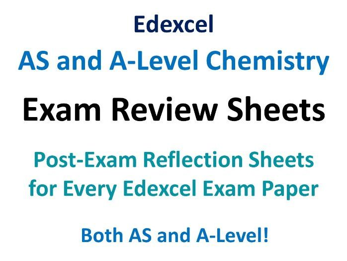 Edexcel A-level Chemistry Exam Reflection Sheets