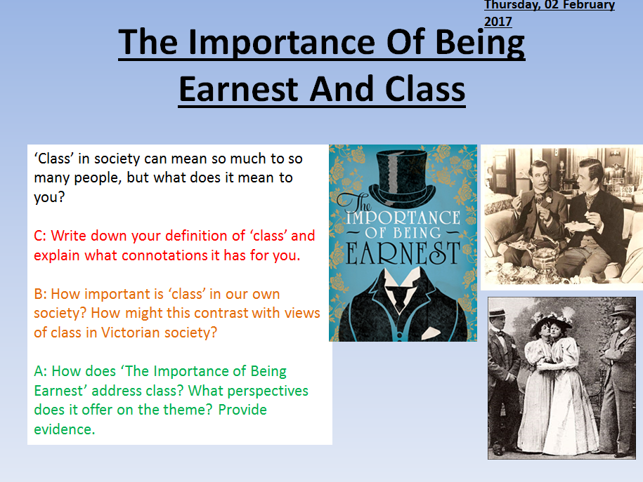 an analysis of the social classes of late victorian england in the importance of being earnest a pla The victorian society fell in a passionate love with the idea of earnestness the idea of living in an earnest manner was the topmost ideals of the victorian society the late nineteenth century british people gradually became hypocritical in their fashionable and faddish struggle to obtain the ideals of.