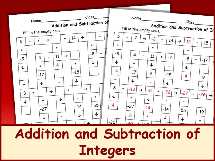 Addition and Subtraction of Integers Crossword Puzzle