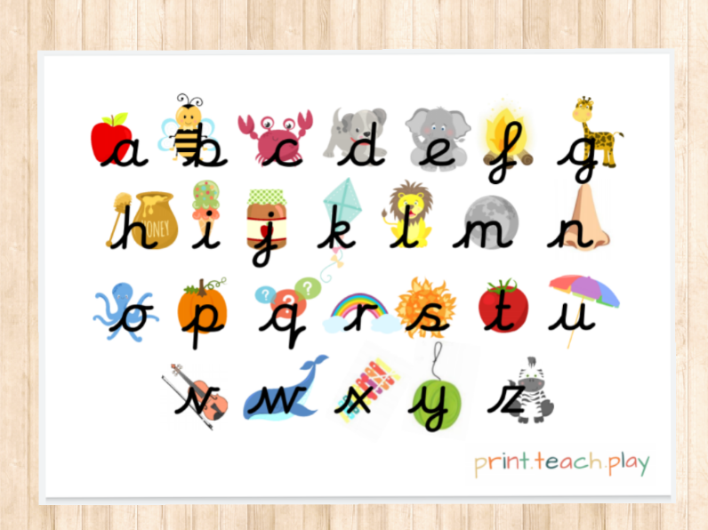 Unjoined Cursive Alphabet Pack