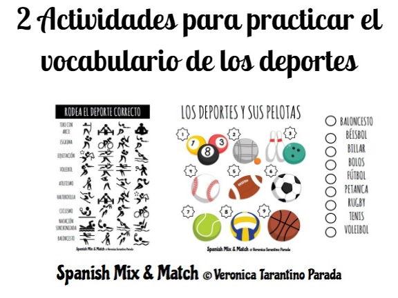 SPORTS VOCABULARY ACTIVITIES SPANISH
