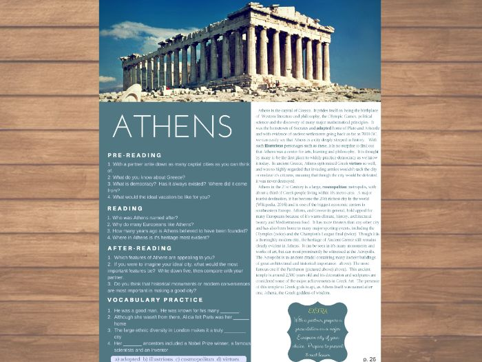Athens - ESL / English Reading, Comprehension Check & Vocabulary Review