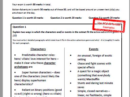 OCR Media Studies GCSE 2012 Specification - Action Adventure Revision Sheet