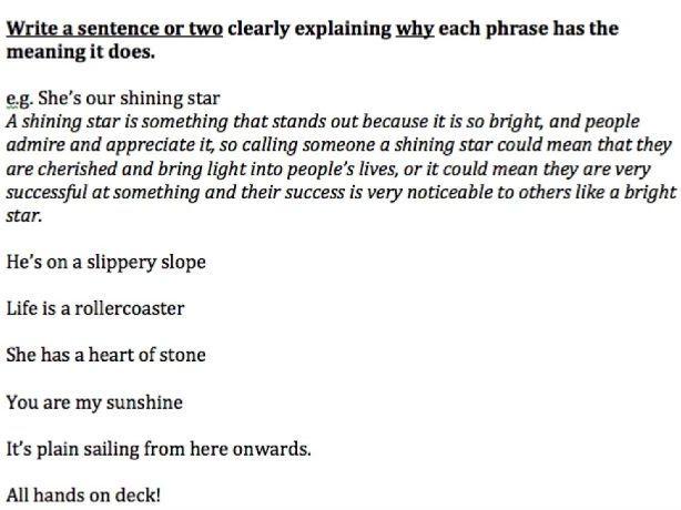 Metaphors in Everyday Speech / Idioms