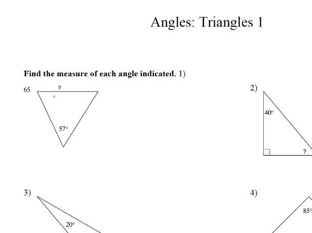 GCSE Maths Worksheet : angles in triangles