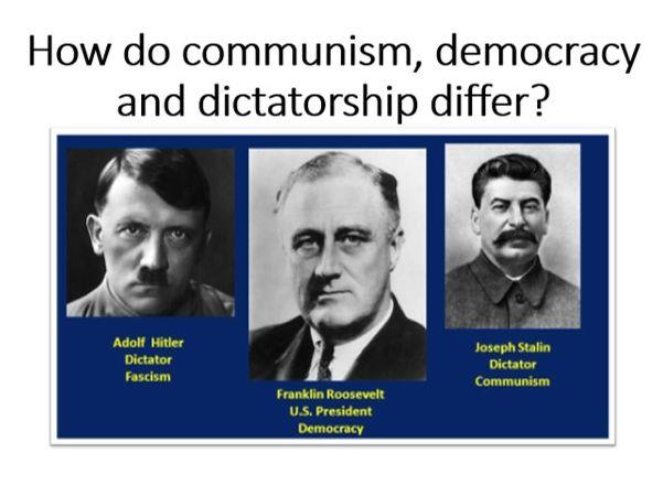 How do communism, democracy and dictatorship differ?