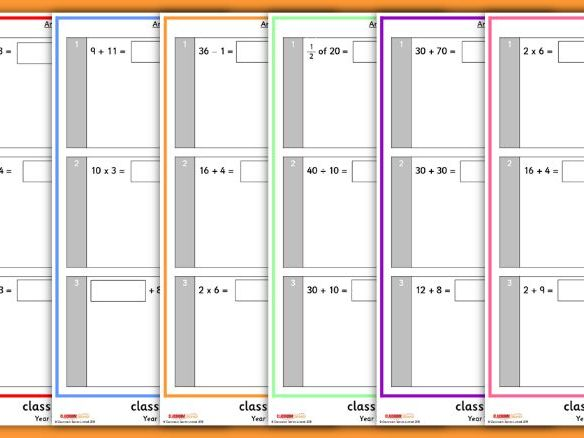 Arithmetic Tests for Year 2 Spring Term 1
