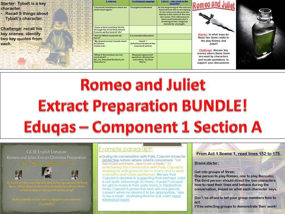 BUNDLE - Romeo and Juliet - extract preparation- Eduqas