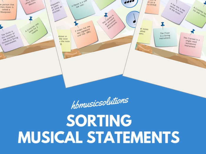 Sorting The Musical Statements Interactive Music Game