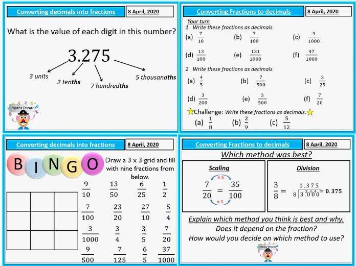 Converting between fractions and decimals.