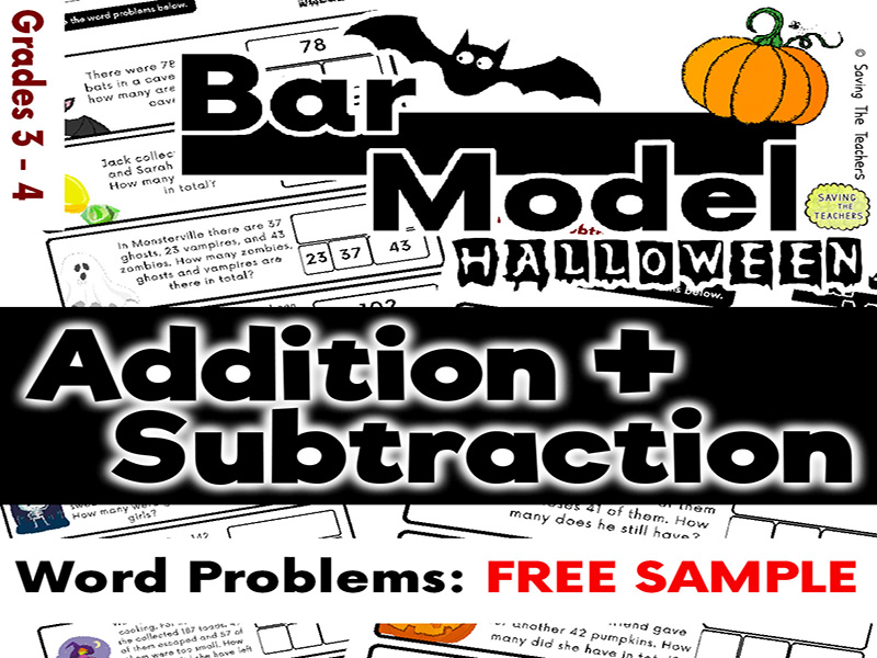 Free Download: Halloween: Addition and Subtraction Bar Model Word Problems - Years 4 and 5