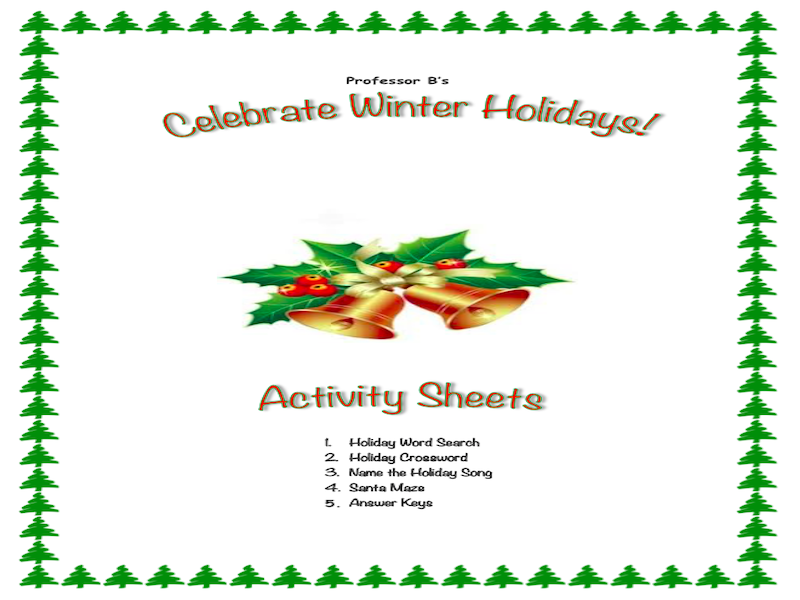 Celebrate the Winter Holidays Activity Sheets