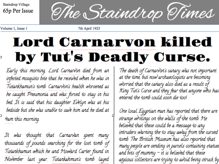 Tutankhamun Newspaper Example.