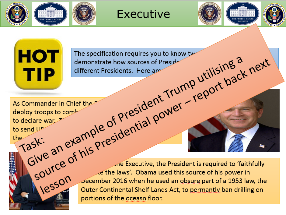 US President power - formal and informal. | Teaching Resources
