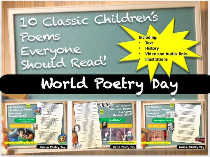 World Poetry Day! - 10 Classic Children's Poems Everyone Should Read!