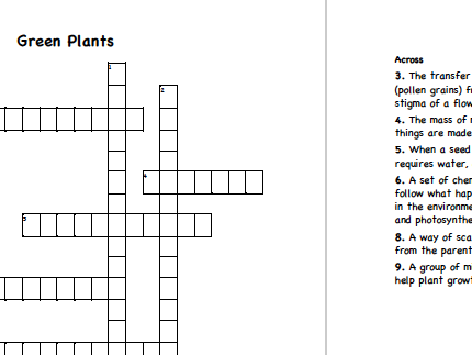 Collection of  8 Science Crosswords