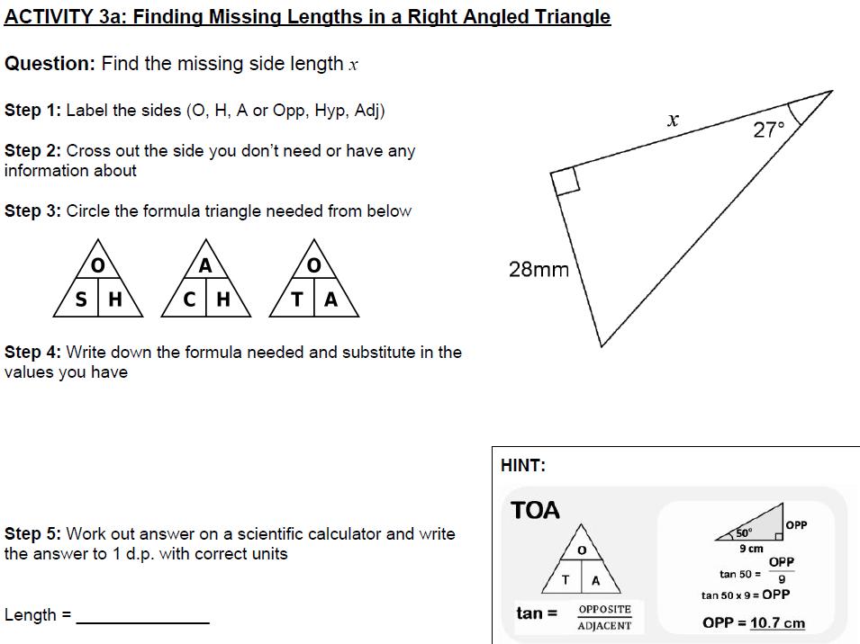 Trigonometric Ratios / SOH CAH TOA / sin cos tan - 5 RESOURCE PACK