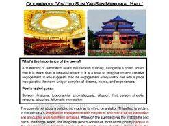 Close reading notes - analysis of Oodgeroo, 'Visit to the Sun Yat-Sen Memorial'