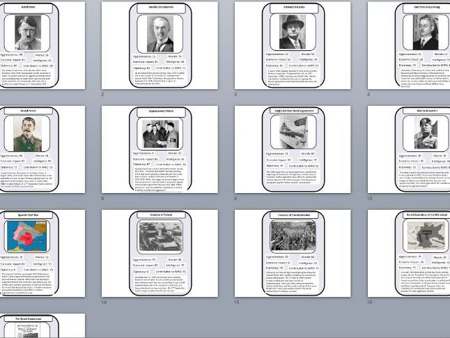 Outbreak of World War II Top trumps Revision Tool