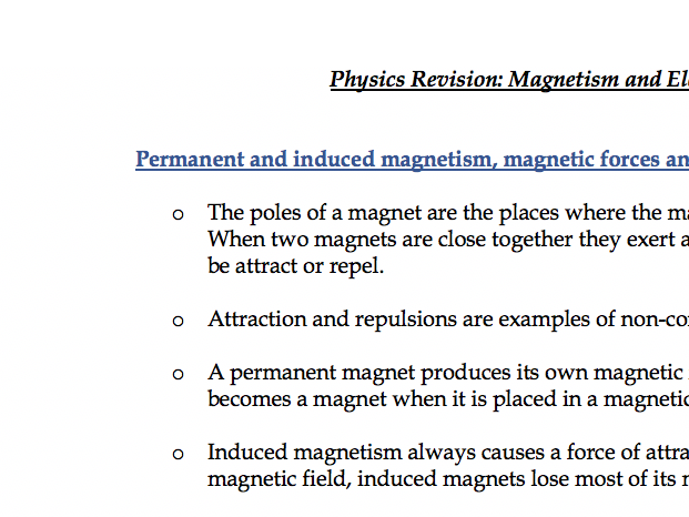 Magnetism+Electromagnetism - Notes Physics AQA Combined Science GCSE