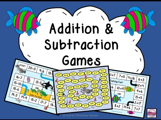 Under the Sea Themed Addition Games and Subtraction Games Within 20