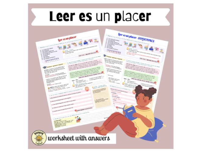 Mi gente: Leer es un placer. Opiniones. Spanish GCSE Free time activities: reading. Answers