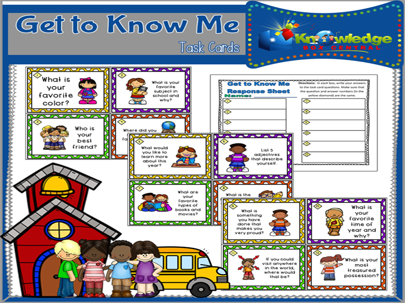 Get to Know Me Task Cards & Response Sheet