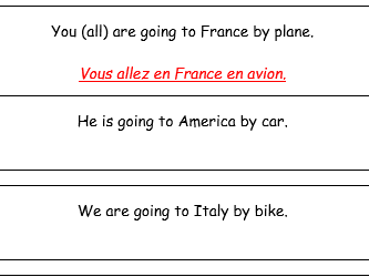 French Aller, Countries and Transport : Worksheet