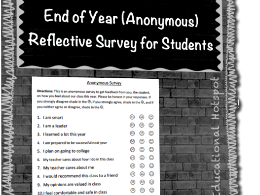 End of Year (Anonymous) Student Reflective Survey