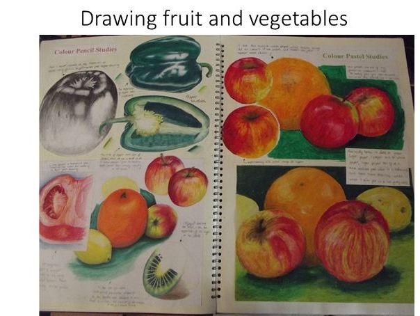Create observational drawings of fruit and vegetables (art activity suitable for home learning