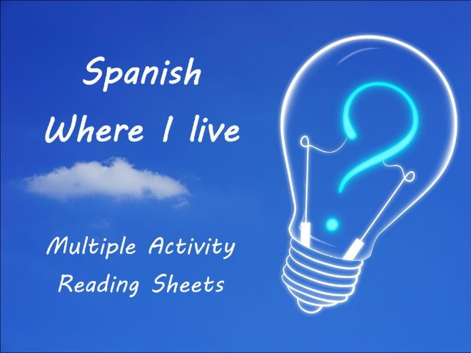 Where I live - Spanish reading - multiple activity sheets