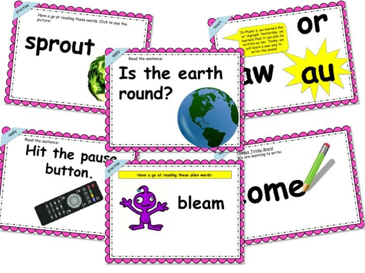 Phonics Powerpoint, Phase 5, Week 3 (ou, ir, aw, au)