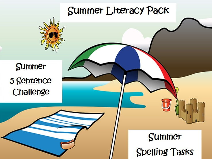 Summer Literacy  5 Sentence Challenge and Summer Spellings